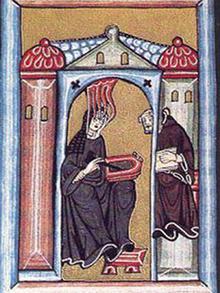 An illustration by Hildegard von Bingen shows her receiving a vision