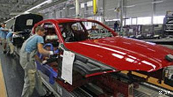 A car assembly line in a factory
