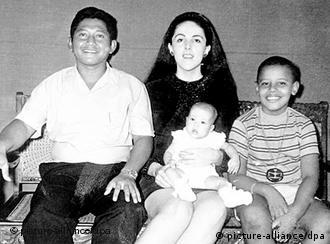 Childhood picture of Obama with his mother, half-sister and stepfather in Jakarta