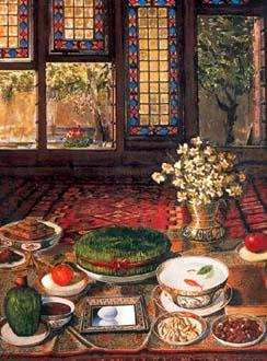 سفره هفتسین - ترکمنها سفره هفتسین ندارند. اما 'سمنی' می پزند که یک نوع غذای ویژهی آغاز بهار است.