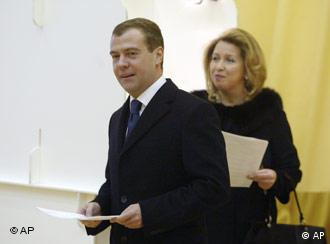 Dmitry Medvedev and his wife, casting their ballots