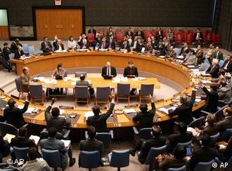 Members of the Security Council of United Nations vote 14-0 on a resolution to increase sanctions against Iran at U.N. Headquarters Monday, March 3, 2008 (AP Photo/David Karp)
