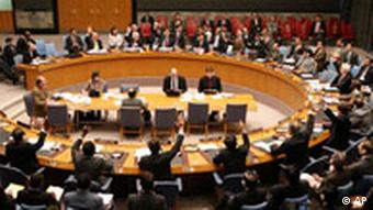 Members of the Security Council of United Nations vote 14-0 on a resolution to increase sanctions against Iran at U.N. Headquarters Monday, March 3, 2008