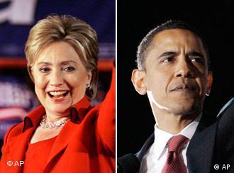 Democratic candidates Hillary Clinton and Barack Obama