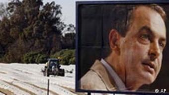A campaign billboard fir Zapatero