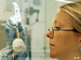 A female scientists conducts an experiment with an egg
