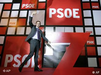 Spainish Prime Minister Jose Rodriguez Zapatero celebrates his party's, (PSOE) win, at the socialist party headquarters in Madrid, Sunday March 9, 2008. (AP Photo/Bernat Armangue)