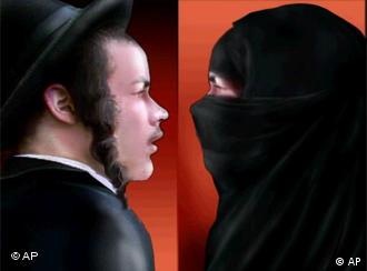 Symbolic portrait of a Jew and a Muslim face to face