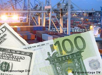 dollar, euro notes against a port