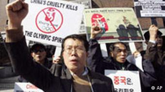 A rally in Seoul against the Chinese government's policy on North Korean defectors