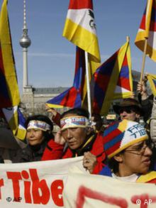 Protestors demonstrate for a free Tibet in front of the Chinese embassy in Berlin,