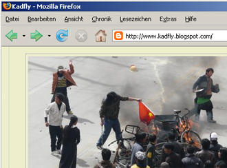 Der amerikanische Blogger Kadfly berichtet aus Lhasa, Quelle: http://www.kadfly.blogspot.com