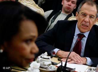 Condoleezza Rice, left, listens as Russian Foreign Minister Sergei Lavrov.jpg U.S. Secretary of State Condoleezza Rice, left, listens as Russian Foreign Minister Sergei Lavrov speaks during the talks in Moscow, Russia, Tuesday, March 18, 2008.U.S. Secretary of State Condoleezza Rice and Defense Secretary Robert Gates visit Russia for talks at a time of rising tension between Washington and Moscow over U.S. missile defense plans.(AP Photo/Sergey Ponomarev)