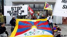 Tibet Demonstranten in Lausanne Schweiz gegen Olympia in Beijing
