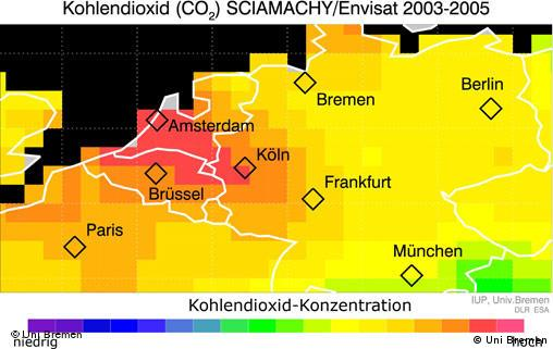 Diagram showing CO2 concentrations in Europe