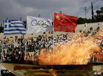 The Olympic flame has had a very unharmonious journey from Athens so far