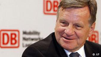 Hartmut Mehdorn, Chairman of the German railway company Deutsche Bahn AG, smiles during the annual balance press conference in Berlin, Monday, March 31, 2008.