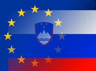 A photo overlay of the EU and Slovenian flags