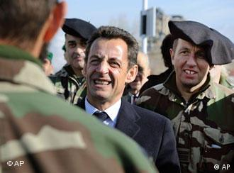France's President Nicolas Sarkozy meeting some of the French troops stationed in Afghanistan as part of NATO's military force, Kabul, Saturday, Dec. 22, 2007