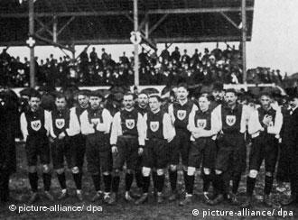 The German national team at its first international match on April 5, 1908