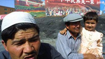 China Xinjiang Uiguren in Karla Plakat auf Chinesisch