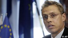 Former MEP, the new Finnish Foreign Minister Alexander Stubb holds a press conference at the Foreign Ministry in Helsinki on Friday April 4, 2008. Stubb was sworn in earlier Friday, after former Foreign Minister Ilkka Kanerva was ousted following a sex text message scandal with a stripper. (AP Photo / LEHTIKUVA, Markku Ulander) ** FINLAND OUT - NO SALES **