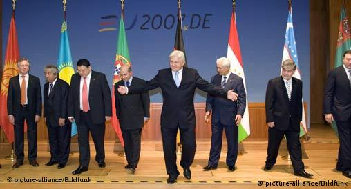 German Foreign Minister Frank Walter Steinmeier and the former ministers of the Central Asian states
