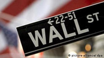 Wall Street street sign with American flag in background