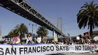 Olympische Fackel in San Francisco, Proteste