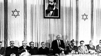 BG60JahreIsrael David Ben Gurion Israel Unabhängigkeitserklärung 1948