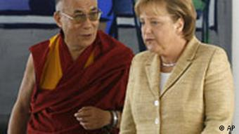 German Chancellor Angela Merkel, right, and the Dalai Lama in Sept. 2007
