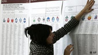 Wahlen in Italien, Wählerlisten in einem Wahllokal