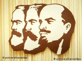 Marx, Engels and Lenin, three 19th century revolutionary figures, woodcut drawings