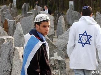 Israeli students walk among stones at the former Nazi death camp Treblinka, northeast Poland