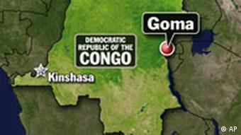 Landkarte der Demokratischen Republik Kongo (15.4.2008, Quelle: AP)