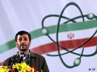 Iranian President Mahmoud Ahmadinejad, speaks at a ceremony in Iran's nuclear enrichment facility in Natanz