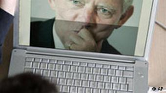 An image of Schaueble on a computer screen