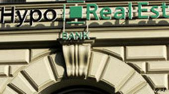 Hypo Real Estate logo on the bank building