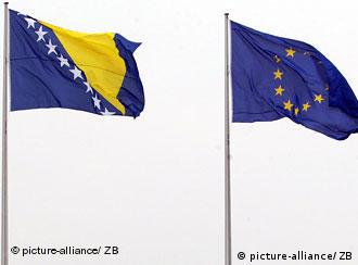 Bosnian and EU flags next to each other