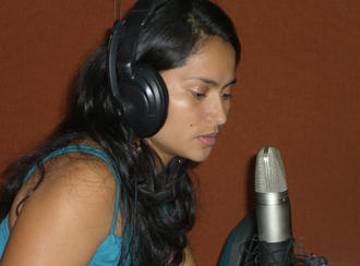 A participant in front of a microphone