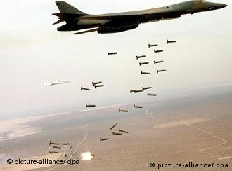 Cluster bombs being dropped by a plane