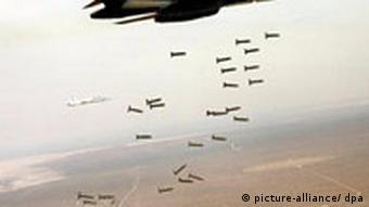 A plane dropping cluster bombs