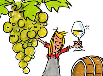 Symbol drawing of grapes and a winemaker