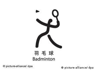 Piktogramm für Badminton bei den Olympischen Sommerspielen 2008 in Peking, China. Foto: +++(c) Picture-Alliance / ASA+++