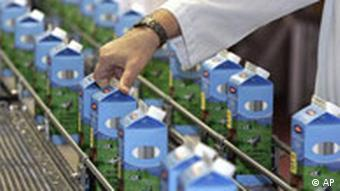 Cartons of milk being inspected in a dairy production plant.