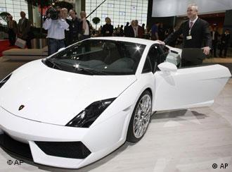 Martin Winterkorn, VW CEO, beside a Lamborghini prior to the shareholders' meeting
