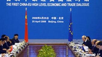 The Chinese and EU delagtions face off