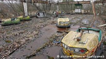 The side-shows in the abandoned amusement park in the deserted city of Pripyat