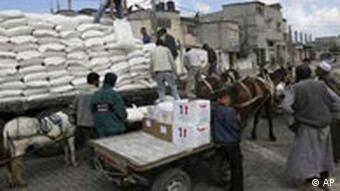 Food being distributed by the UNRWA