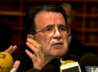 European Union Commission President Romano Prodi gestures while speaking during a press conference regarding the upcoming Goteborg summit in Sweden at the EU Kirschberg building in Luxembourg, Monday June 11, 2001. (AP Photo/Virginia Mayo)